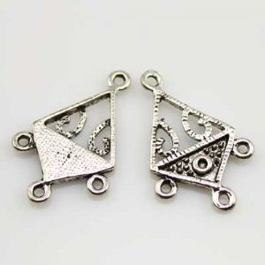 Earring Pendants, Silver colour, 2cm x 2.8cm, 2 pieces, (EHJ015)